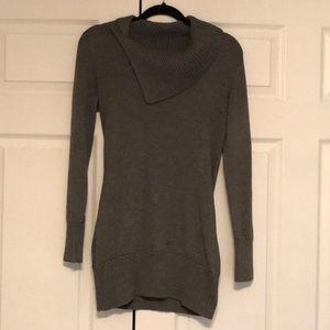 Gray tunic length cowl neck sweater